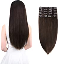 Winsky Clip in Remy Human Hair Extensions 150g 8pcs 20clips Full Head Soft Straight Thick Hair Clip in Extensions for Women (18inch, Dark Brown #2 Color)