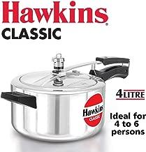 Hawkins Classic Aluminium Pressure Cooker, 4 Litres, Silver