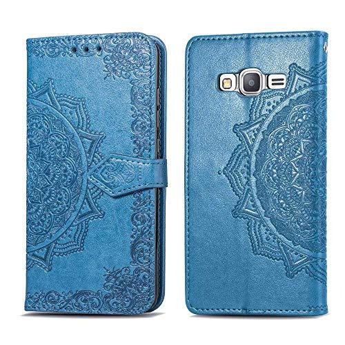 Bear Village Hülle für Galaxy Grand Prime, PU Lederhülle Handyhülle für Samsung Galaxy Grand Prime, Brieftasche Kratzfestes Magnet Handytasche mit Kartenfach, Blau