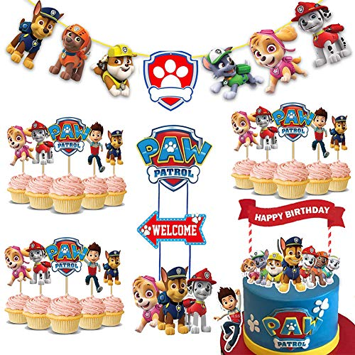 Paw Dog Patrol Compleanno Decorazione Set,Dog Patrol Topper per Torte,Banner Buon Compleanno,Cupcake Topper Bambini e Baby Shower Forniture per la Decorazione Della Torta Della Festa di Compleanno