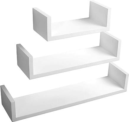 WOLTU RG9239ws Mensole da Muro Mensola a Cubo Scaffale Parete Decorazione per Cameretta Salotto Libreria CD Legno MDF Moderno 3 Pezzi Diametri Diversi Bianco