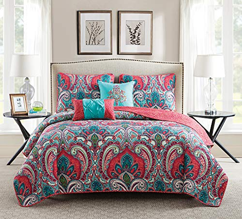 VCNY Home | Casa Real Collection | Soft Microfiber Paisley Reversible Quilt Bedspread, Premium 5 Piece Bedding Set, Stylish Retro Design for Home Décor, Full/Queen, Pink/Turquoise