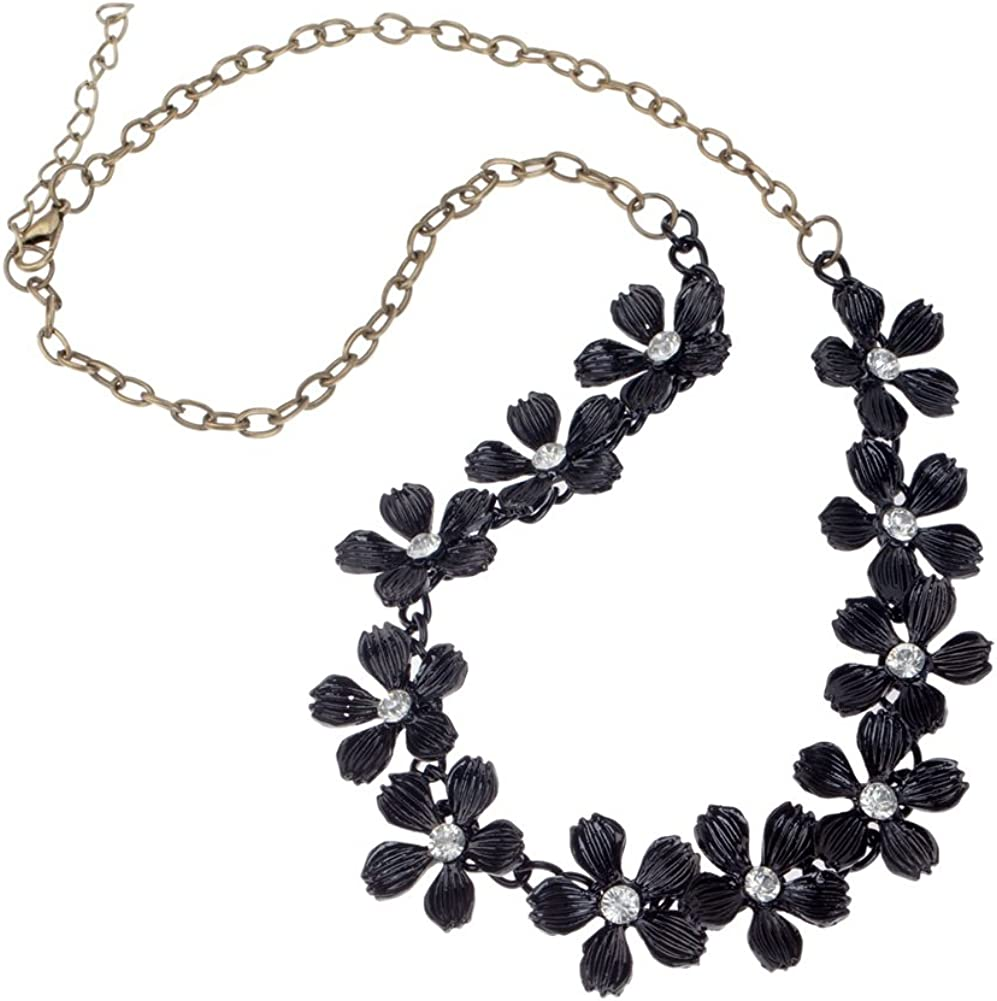 VAGA Gorgeous Vintage Style Metal Necklace with Black Flowers Decorations Pendants Designs Studded with Clear Rhinestones Crystals Gemstones On Bronze Chain