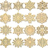 16 Pieces Christmas Snowflake Coaster, Snowflake Thick Wood Coaster Winter Coffee Cup Mat Coasters for Christmas Table Decoration, 4.7 Inch