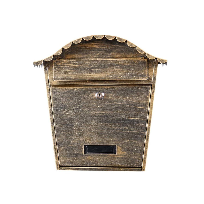 ヨーロッパの箱の屋外の壁に取り付けられた古代の金の創造的な防水新聞箱の模造 屋外セキュリティメールボックス