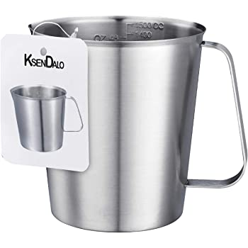 Amazon Com Stainless Steel Measuring Cup 6 Cup Ksendalo 3 Quart Stainless Measuring Pitcher With Marking With Handle 48 Ounces 1 5 Liter Kitchen Dining