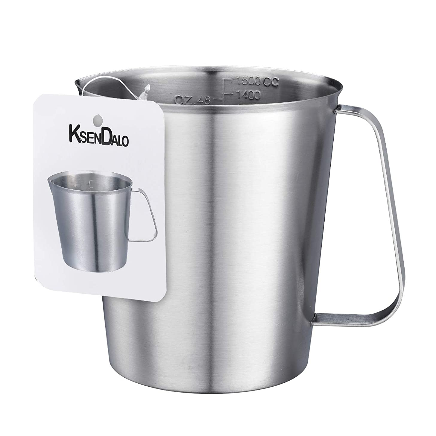 Kitchen Measuring Cup, KSENDALO 48Oz Cooking Measuring Cup for Baking Use, Large Frothing Pitcher with Marking with Handle, (1500ML, 6 Cup)