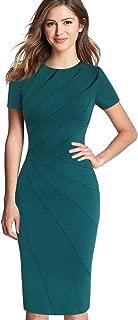 Womens Elegant Crew Neck Patchwork Work Business Office Sheath Dress
