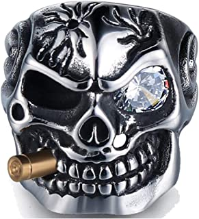 Jude Jewelers خمر الفولاذ المقاوم للصدأ الجمجمة القوطية التدخين رصاصة سائق الدراجة كوكتيل حزب الدائري