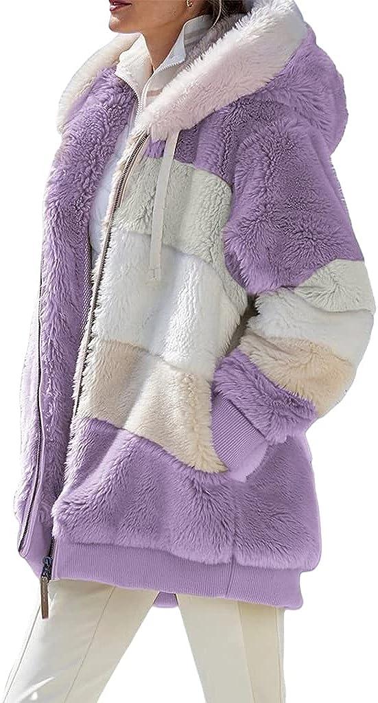 Women's Oversized Jacket Casual Fuzzy Fleece Long Sleeve Strpied Zipper Plus Size Hooded Coat Winter Outwear