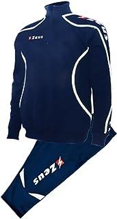 Zeus Tuta Sportiva Uomo Donna Unisex corsa trainingsuit Giacca Pantaloni 3/4Capri Calcetto Calcio Campionato blu-bianco Viky