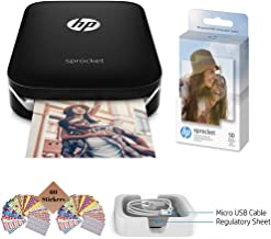 $119 » HP Sprocket Photo Printer, Print Social Media Photos on 2x3 Sticky-Backed Paper (Black) + Photo Paper (50 Sheets) + USB Cable + 60 Decorative Stick-On Border Frames