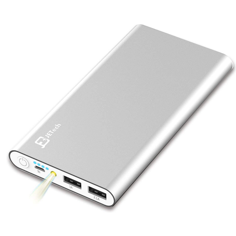 美国JETech 10000mAh移动电源 充电宝 双USB口输出充电 带照明灯 适用于苹果、三星、HTC、小米、中兴等智能手机和平板电脑,USB接口的数码产品 (银色) - 0761