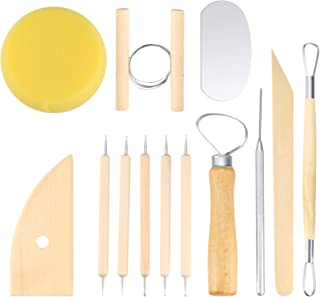 HaoChen Set Outils Poterie 12 Pièces, Kit Poterie Sculpture Argile, Accesoire Ceramique Poterie Pate à Modeler, Artiste Ar...
