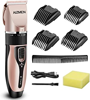 KIDGOOD Hair Clippers for Men, Professional Cordless Hair Trimmer Beard Trimmer Set with Titanium Ceramic Blade, Built-in Battery and USB Charging, 5 Length Adjustment with 4 Guide Combs