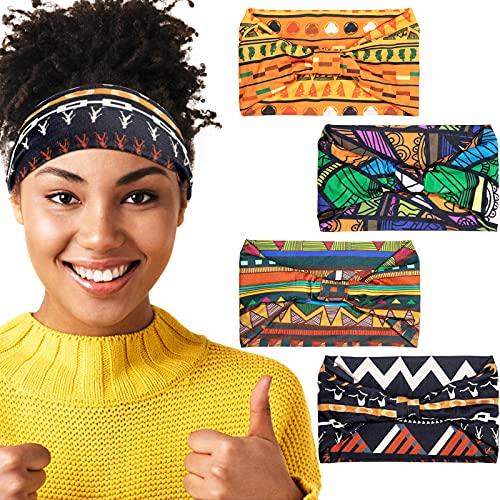4 Diademas Africanas Banda Ancha Elástica Anudada de Yoga Diademas de Africanos Accesorios de Cabello para Mujeres y Niñas (Serie Vintage)