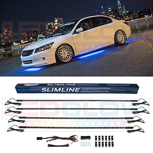LEDGlow 4pc Blue Slimline LED Underbody Underglow Car Light Kit - Water Resistant - Wide Angle SMD LEDs
