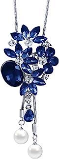 Mecool Collar largo con colgante de flor, collar de cadena larga con cristales creados, color azul
