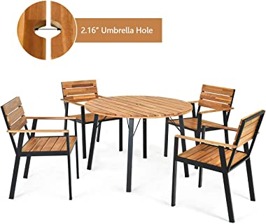 HAPPYGRILL 5pcs Patio Dining Set with Acacia Wood Table Chairs Top, Outdoor Conversation Set with Durable Steel Frame & U