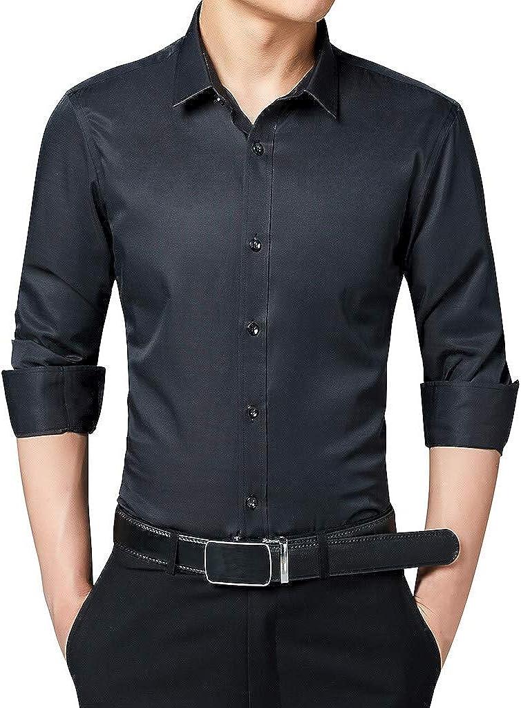 MODOQO Men's Button Down Business Shirt Casual Long Sleeve Comfortable Solid Formal Dress Shirts