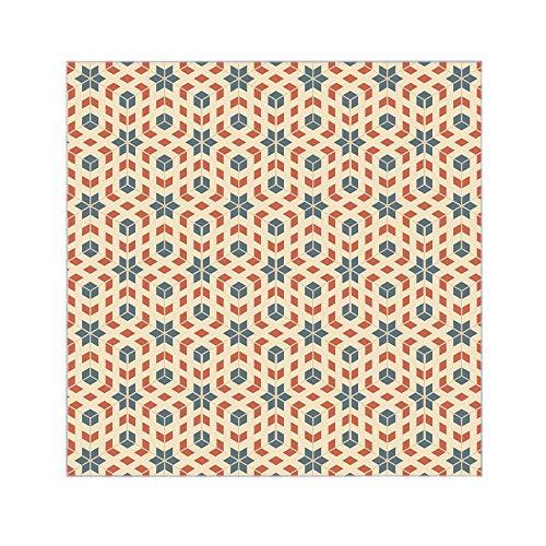 banjado Glasplatte für IKEA Lack Tisch 55x55cm | Abdeckplatte aus Sicherheitsglas | Motiv Stern und Kubus | Tischplatte für Beistelltisch, Sofatisch weiß Glasplatte