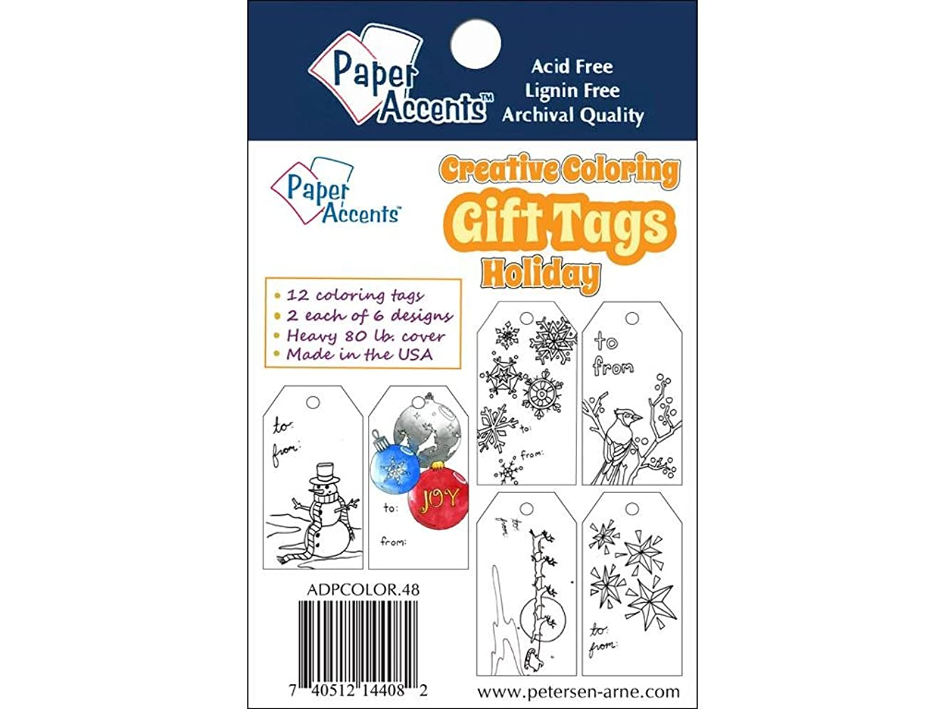 Accent Design Paper Accents Coloring Tags 2x3.75 Holiday ColoringTagsHoliday