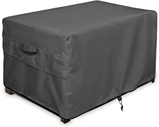 ULTCOVER Patio Deck Box Storage Bench Cover - Waterproof Outdoor Rectangular Fire Pit Table Cover 54 x 28 inch, Black