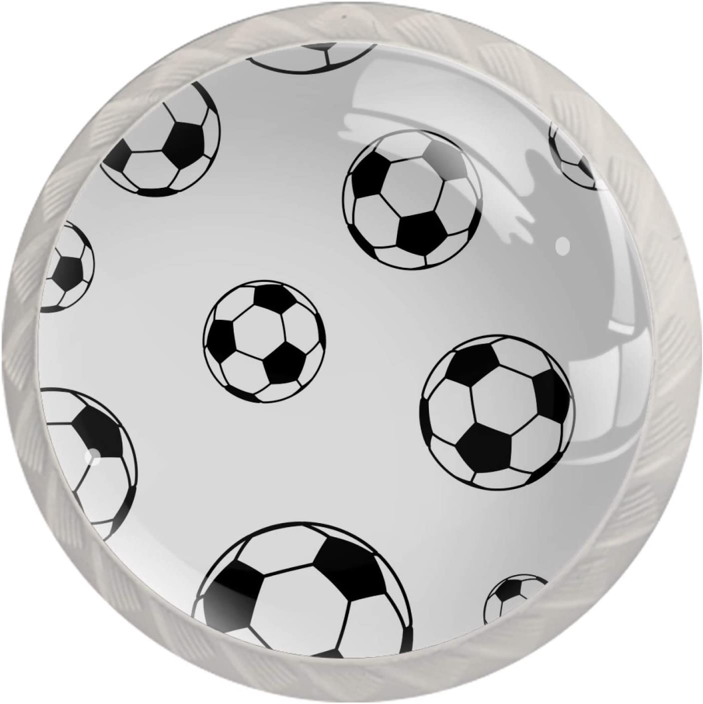 Door Knobs Soccer Football Louisville-Jefferson County Mall Black Max 54% OFF Drawer Handl Lovely White