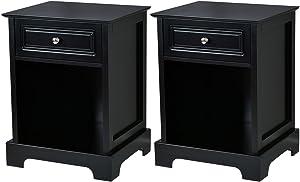 Giantex Set of 2 Nightstand W/Drawer Open Shelf for Home Bedroom Furniture Chest Sofa Side Bedside Storage End Table (Black)