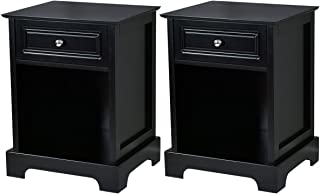 Giantex Set of 2 Nightstand W/Drawer Open Shelf for Home Bedroom Furniture Chest Sofa Side Bedside Storage End Table (Black)