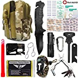 EVERLIT Survival Kit, 80-in-1 Outdoor Gears Tactical Tools Emergency Kit, First Aid Kit, Flashlight, Survival Bracelet, Emergency Blanket, Tactical Pen, for Camping, Hiking, Hunting (CAMO 40-in-1)