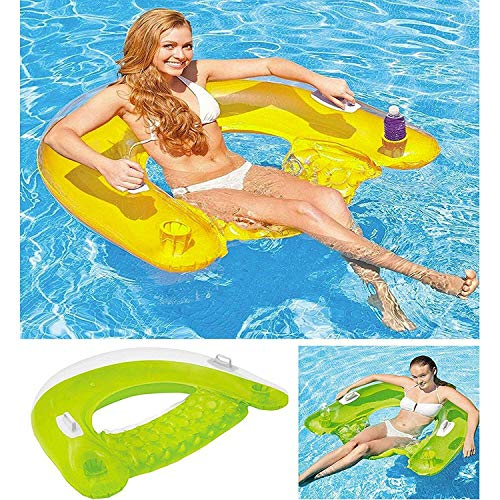 Intex Inflatable 60' Sit n Float Swimming Pool Beach Chair Lilo Lounger Air Mat (Assorted Colour)