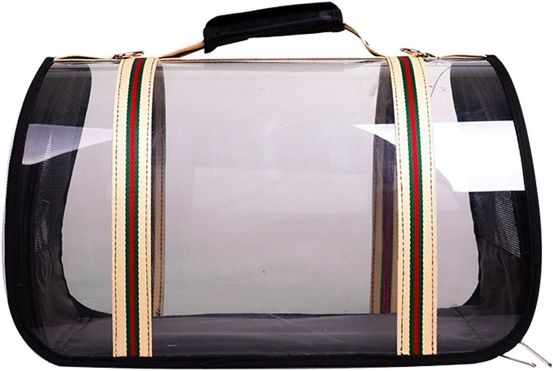 Pet Travel Bag Portable Breathable Carrier Backpack Outdoor Travel Picnic Single Shoulder Bag Hiking Comfortable Transparent Handbag Black (Size   S)