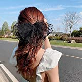 HUOFU Lace Mesh Bow Hair Clips, Korean Style Flower Dot Barrette Hair Accessories for Women Girl, Hairpins Headpiece Hair Bow Clips Ponytail Holder(Black)