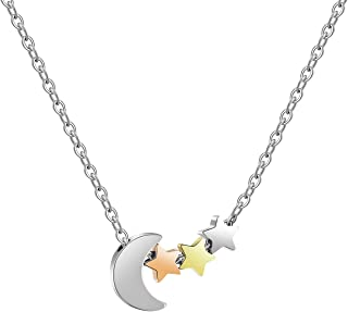 Joycuff Moon and Stars Necklaces for Girlfriend Wife Daughter Mom Best Friend Silver Gold Rose Gold Plated Cute Charm Pend...