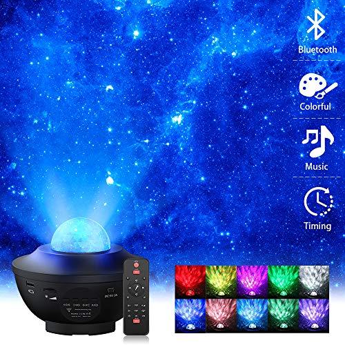 Sternenhimmel Projektor, Elekin LED Sternenprojektor Lampe mit Fernbedienung Starry Stern Mond, Wasserwellen-Welleneffekt, Bluetooth Lautsprecher Perfekt für Party Weihnachten Ostern Halloween