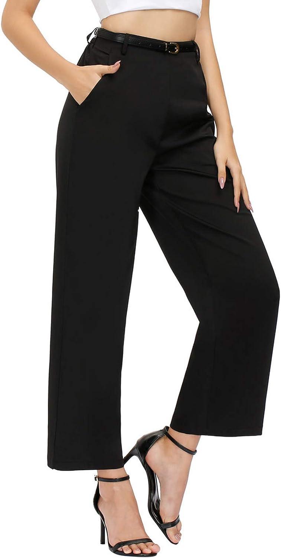 KANCY KOLE Women's Casual Work Wide Leg Pants with Belts Pockets Plaid High Waist Trousers S-XXL