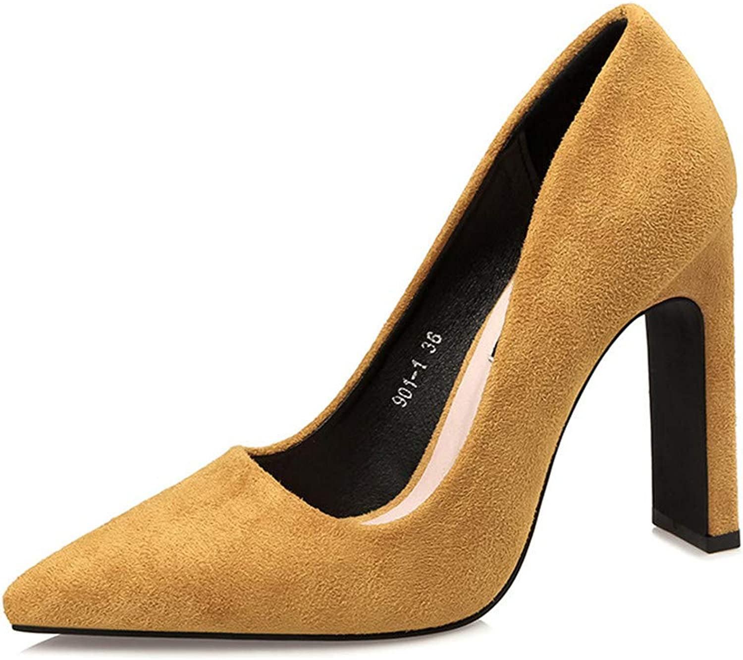 Women's Sexy Coarse heelPointed Toe 4.13 inch High Heel Slip On Stiletto Pumps Large Size Basic shoes,Yellow,38
