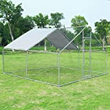 Giantex Large Metal Chicken Run, Walk-in Chicken Coop with Waterproof Cover, Poultry Enclosure Hen...