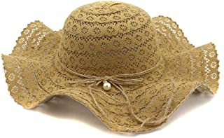 Summer hat Women Sun Hat Straw Hat Outside Seaside Beach Big Hat Fashion Sunscreen Visor Pearl Lace Bow Big O.k. Hat hat (Color : Coffee, Size : 56-58CM)