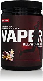Vaper All-Workout (No Crash/No Jitters Pre-Workout + Vegan BCAAs + Thermogenic Fat Burner + Electrolyte Hydration) 4 Products in 1 Drink! (Passionfruit)