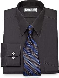Paul Fredrick Men's Non-Iron 2-Ply Cotton Straight Collar Dress Shirt