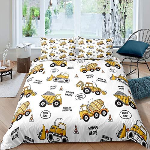 Loussiesd - Juego de ropa de cama para niños, diseño de maquinaria de dibujos animados, para coches y excavadoras, topadora para niños, color amarillo