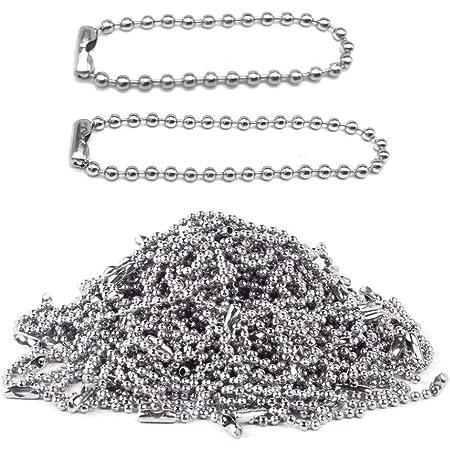 Nsiwem Catena a Palline per Collana 2,4 mm 200 Pezzi Catenella in Acciaio Inox Catenina Argento con Connettori per Accessori di Gioielli Fai da Te 10cm/15cm