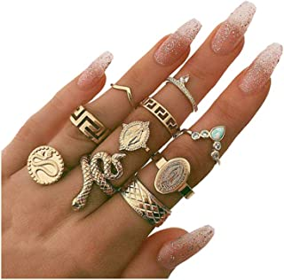 7-10 Pieces Gold Snake Turquoise Finger Ring Set. Boho Rhinestone Stackable Rings Set,Vintage Serpentine Knuckle Ring for Women Girls