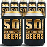 Happy 50th Birthday Party Decorations for Men, Insulated Can Coolers as Dad's Birthday Decorations and Party Favors, Beer Sleeves 50th Birthday Gifts for Men, 12-Pack, Black & Gold