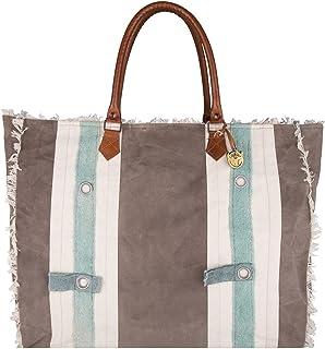ZusenZomer Große Vintage Tasche Strand Canvas mit Leder Damen Strandtasche Badetasche Shopper XL mit Reißverschluss
