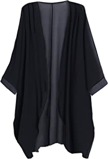 f6a72bbb66ab Tribear Women's Sheer Chiffon Kimono Cardigan Solid Casual Capes Beach  Cover up