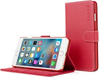 iPhone 6 Plus / 6s Plus Case, Snugg - Leather Wallet Cover Case with (Red) for Apple iPhone 6 Plus / 6s Plus