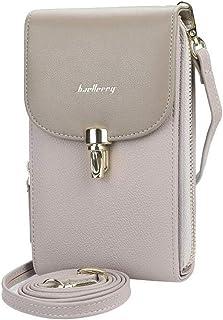 Damen Schultertasche Grau, Kleine Reißverschluss Umhängetasche Kunstleder Handtaschen, AIFILLE Universal Phone Tasche Zip ...